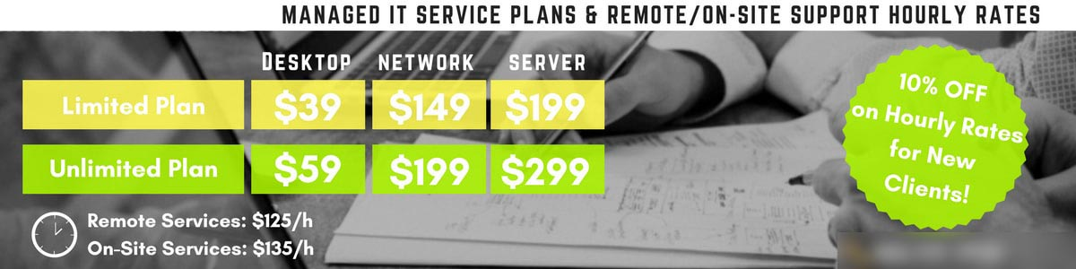 MANAGED IT SERVICE PLANS, REMOTE & ON-SITE SUPPORT HOURLY RATES - Secure Networks INC San Diego