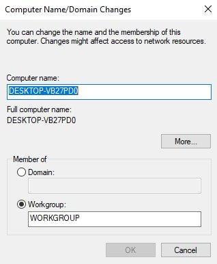 Computer Name Workgroup