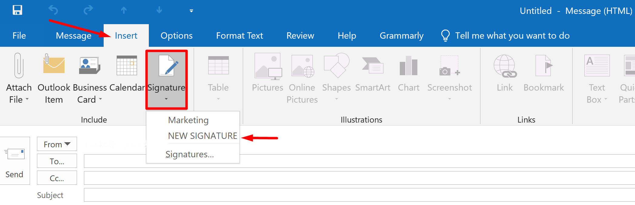 Manually add email signature