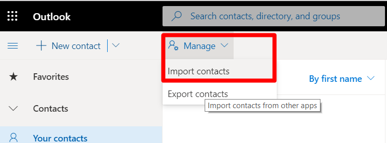 Outlook 365 Contacts Import