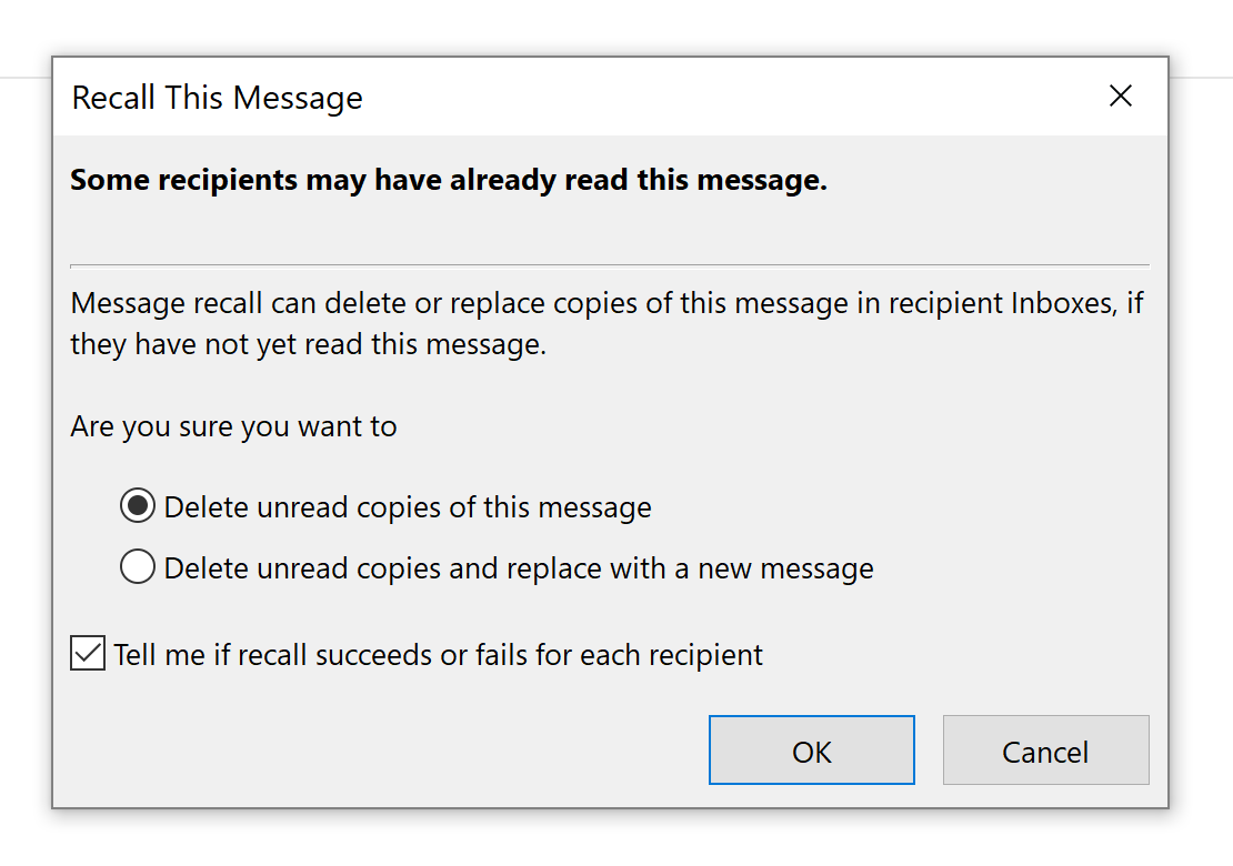 Outlook recall message