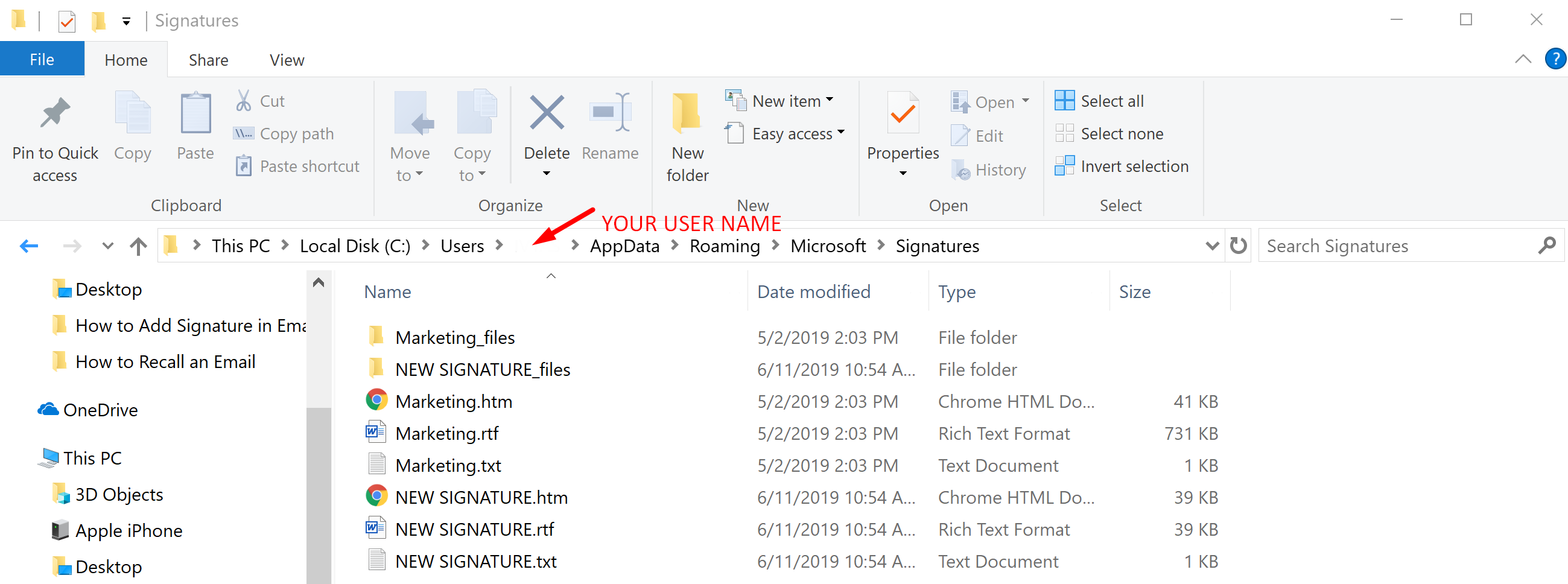 Save Outlook Signature
