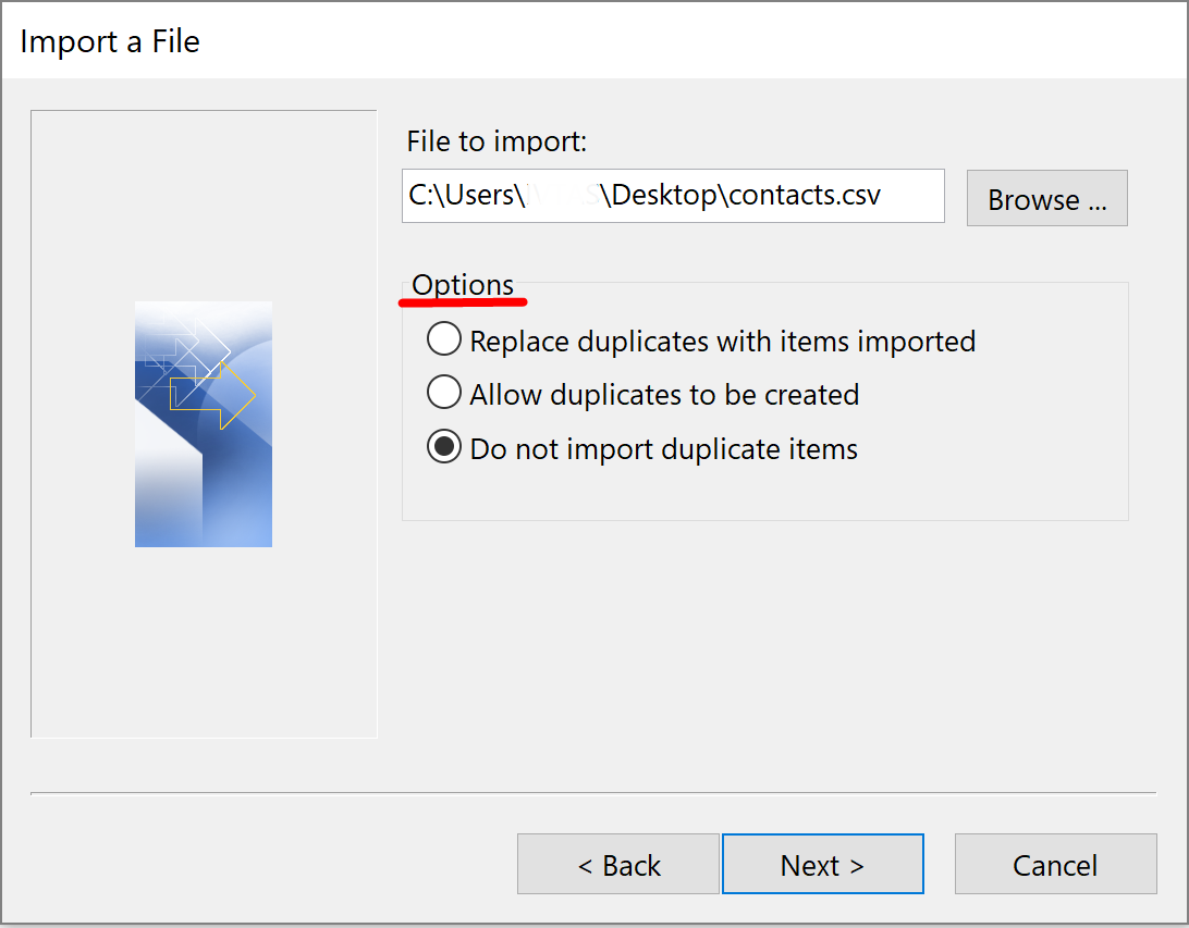 import contacts to outlook 2016
